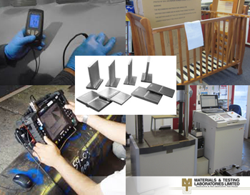 A collage image showing various testing techniques offered by Materials & Testing Laboratories Ltd.